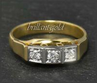 Diamant Brillant 0,28ct Damen Ring, 585 Gold, Antik um 1930, Weißgold & Gelbgold