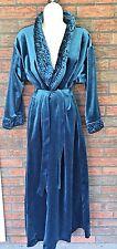 Vintage Teal Say-lu Velour Robe Size Medium Gorgeous Full Length Housecoat VTG