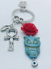Keychain Bag Charm Purse Chain Red Rose Ring Owl Ankh Evil Eye Protection