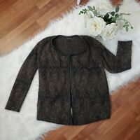 Eileen Fisher Leather Trim Cardigan Open Sweater Jacket Mohair Blend Size Medium