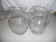 """Lot of 2 clear glass vases 8"""" high and 4"""" opening"""