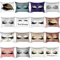 Gold Pink Eyelash Out Soft Velvet Cushion Cover Marble Pillow Cases 30x50cm Sale