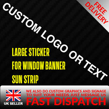 CUSTOM TEXT / BRAND Sticker Badge for Sun strip Vinyl Decal Banner Sponsor Visor