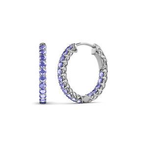 Tanzanite Inside-Out Womens Hoop Earrings 0.86 ctw 14K Gold JP:137815