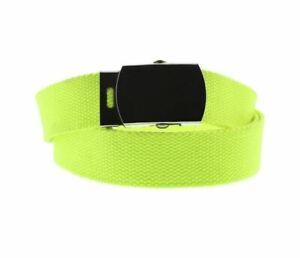 Unisex Neon Yellow Novelty Fancy Dress Canvas Belt Adjustable One Size New