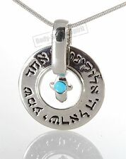 Ring Pendant Silver Plated Necklace Lucky Charm Jewish Judaica Kabbalah