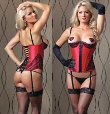 Satin Bustier W/Lace, Padded Demi Cups, Boning, Removable Suspenders & Straps