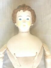 Vintage Parian Bisque Girl Doll Fabric Body, Countess Dagmar Brown Hair, Jewelry