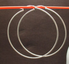 """2"""" Large Thin Plain Shiny Hoop Earrings Real 925 Sterling Silver 1.3mm X 52mm"""
