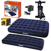 Airbed Single Double King Flocked Inflatable Mattress Air Bed / Pumps Camp Home