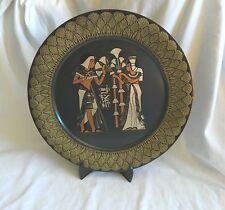 "Egyptian Brass Decor Plate Lotus King Tut Queen Nefertari  15.5"""