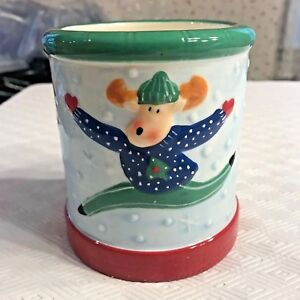"Christmas Elements Whimsy Candle Crock Reindeer Unscented 4 3/4"" High New"