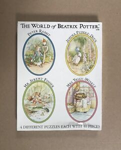 The World Of Beatrix Potter 4 Jigsaw Pack Vintage 1980's 4 X 40 Oval Shaped...