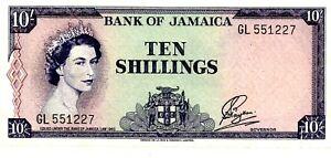 Jamaica ... P-51Ba ... 10 Shillings ... L.1960 ... Ch*VF*.