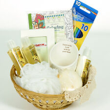 Religious All Occasion Gift Basket Bath Set with Frame, Candle Holder, Doily
