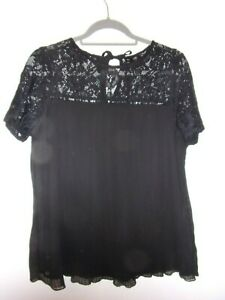 size 14, black, lace and micro-pleat, top
