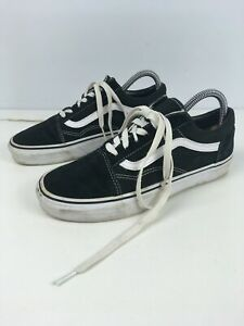 UNISEX VANS UK 5 EU 38 BLACK SUEDE & TEXTILE LACE UP TRAINERS PLIMSOLLS SHOES