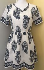 Tunic Dress Women Size XL (fits like a M/L) Blue White Floral Print Shirt