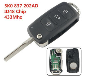VW Complete Remote Key 3 Button 433MHz Beetle Golf Jetta Polo Tiguan Scirocco