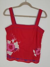 MONSOON Red Pink Floral Embroidered Strappy Cotton Summer Top Size 12 Side Zip
