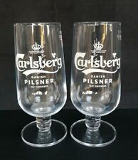 Two New Style Carlsberg Pilsner Lager Beer Pint Glasses NEW - Home Bar - Pub