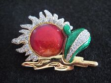 Swarovski Desert Sun Cactus Red Gold Green Brooch 1.75 inches Rare 072 / 073