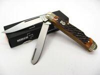 Boker Plus Brown Bone Double Lock Trapper 2 Blade Folding Pocket Knife 01BO206