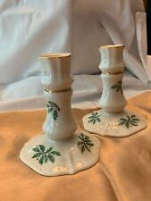 """Lenox china """"Holly Berry"""" pair of candlestick holders, 24k gold trimmings"""