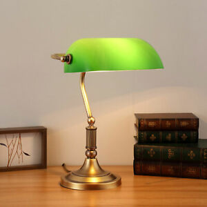 Bankers Lamp Green Vintage Shade Desk Antique Glass Student Piano Table Light
