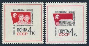 Russia 2800-2801,MNH.Michel 2818-2819. Congress of Soviet Trade Unions,1963.