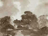 COTTAGE & TREES IN LANDSCAPE Small Watercolour Painting - c1830 - 19TH CENTURY