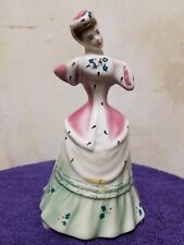 VINTAGE GOLDSCHEIDER MUSICAL FIGURINE of LADY in PINK / GREEN - JINGLE BELLS