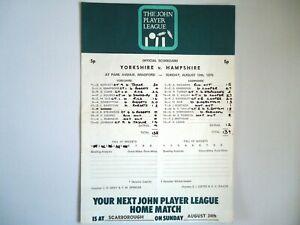 YORKSHIRE  V  HAMPSHIRE  -  Cricket Scorecard  1975  -  JPL  - Bradford Park Ave