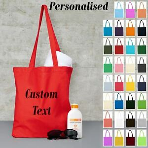 New Personalised Custom Printed Cotton Long Hande Beech Tote Bag Text Print Gift