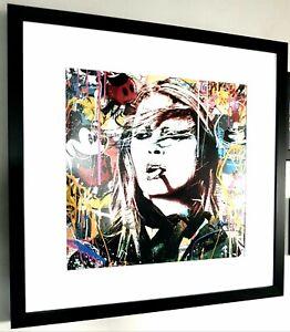Brigitte Bardot-Framed-Graffiti Art-Mr Brainwash-Banksy-pop art-Mickey Mouse