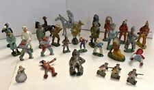 Toy Figures Mixed Lot 28 Pc Barclay Manoil Elastolin Soldiers Cowboys Horses #1