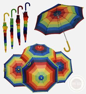 Kids Rainbow Umbrella Striped Quality Rain Protection Children CHOOSE HANDLE NEW