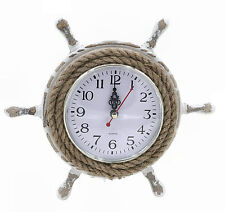 Nautical Theme Shabby Chic 23cm Ship's Wheel Rope Wall Clock (63059)