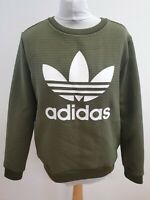 J821 WOMENS ADIDAS ORIGINALS GREEN CREW NECK EMBOSSED L/SLEEVE JUMPER UK 14