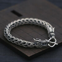 Pure 925 Sterling Silver Bracelet 8mm Dragon Head Link Bracelet For Men's