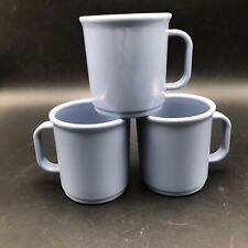 3 Blue Rubbermaid Melamine Coffee Cups Mugs Vtg Camping Picnic Plastic USA 3813