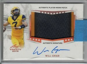 WILL GRIER 2019 Leaf Trinity Patch AUTO / AUTOGRAPH #WG1