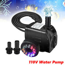 Aquarium Submersible Water Pump with 12 LED Lights for Fountain Pool US Plug