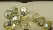10 beautiful buttons, silver base with faceted stone 13mm, pale green hue