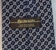 BURTON VINTAGE WIDE TIE RETRO 1970s 1980s MOD DARK NAVY BLUE WHITE PATTERNED