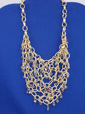 Kenneth Cole Goldtone Woven Chain Mesh Green Smoke Crystal  Frontal Necklace $95