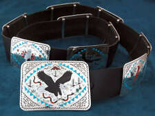 Native American Zuni Handmade Bird Design Concho Belt by E.S. Guardian