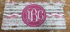 Monogram License Plate Aztec Pink Personalized Car Tag New