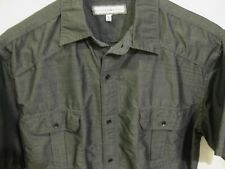 PD & Co Dark Gray Woven Button Down Shirt L Mens Cotton Blend Short Sleeve 44""