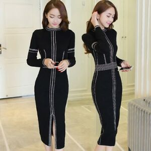 Womens Sexy Slim Fit Bodycon Dress Long Sleeve Knitted Party Pencil Dress Long L